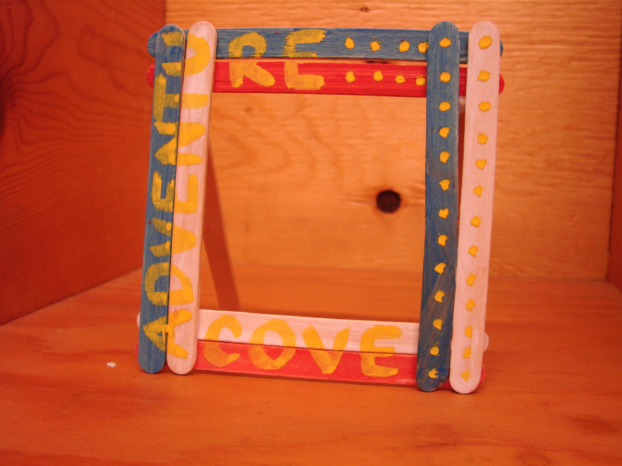 Fun kids craft ideas the resort guide front view of a popsicle stick picture frame jeuxipadfo Gallery